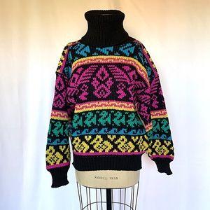 Vintage 80s Oversized Chunky Sweater Turtleneck